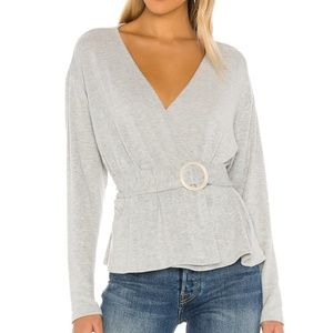 Majorelle Jaxson grey knit revolve wrap sweater